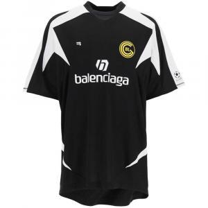 Balenciaga Black Soccer Print T-Shirt Size M -