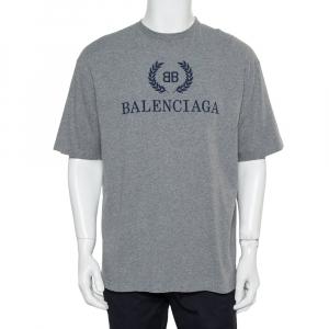 Balenciaga Grey Cotton Crewneck BB Balenciaga Print T-Shirt S