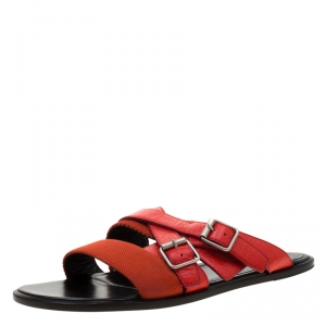 Balenciaga Red Leather And Canvas Flat Sandals Size 43