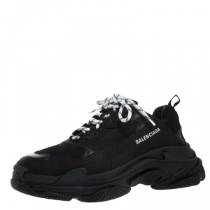 Balenciaga Black Mesh,Leather and Suede Triple S Sneakers Size 44