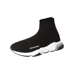 Balenciaga Black Knit Speed Clear Sole Sneakers Size 40