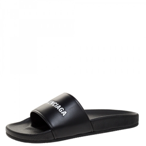 Balenciaga Black Leather Pool Flat Slides Size 42