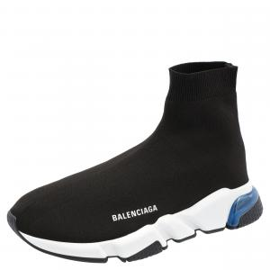 Balenciaga Black/White Speed Clear Sole Sneakers Size 40