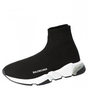 Balenciaga Black/White Speed Clear Sole Sneakers Size EU 44