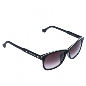 Balenciaga Black/White Trim BA 19-F Wayfarer Sunglasses