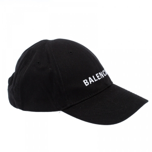 Balenciaga Black Canvas Twill Logo Embroidered Baseball Cap L