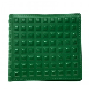 Balenciaga Green Leather Grid Square Bifold Wallet