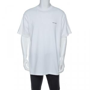Balenciaga White Cotton Logo Print Oversized T-Shirt M