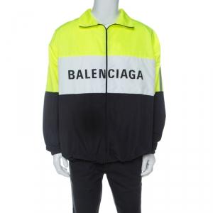 Balenciaga Neon Colorblock Logo Print Track Jacket XXXS