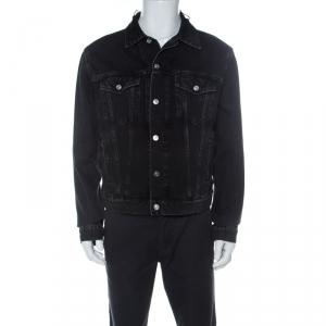 Balenciaga Black Denim Logo Embroidered Frayed Collar Jacket L