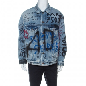Balenciaga Indigo Seasonal Graffiti Print Oversized Denim Jacket S