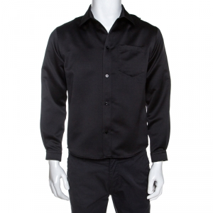 Balenciaga Black Satin Button Front Shrunken Shirt M