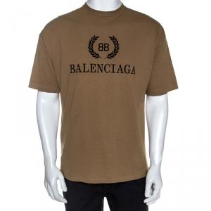 Balenciaga Beige BB Logo print Cotton T-Shirt M