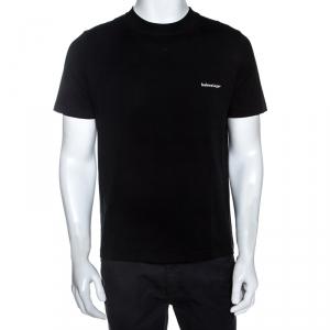Balenciaga Black Cotton Crew Neck T-Shirt M