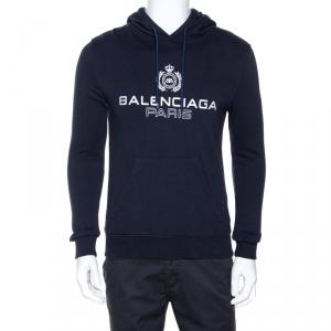 Balenciaga Navy Blue Logo Print Cotton Hooded Sweatshirt S