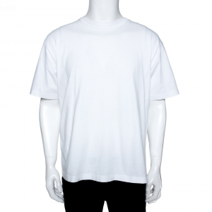 Balenciaga White Logo Print Cotton Oversized T-Shirt L