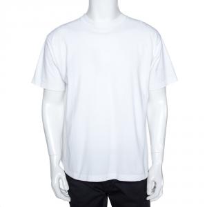 Balenciaga White Cotton Back Logo Print Oversized T Shirt M