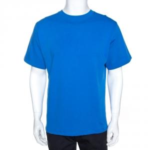 Balenciaga Blue Cotton Archetypes Print Oversized T Shirt S