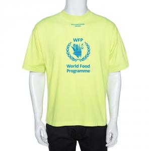 Balenciaga Neon Yellow Cotton World Food Programme Oversized T-Shirt S