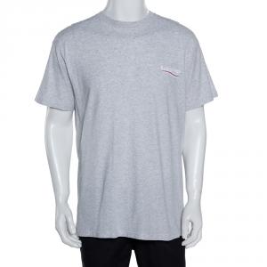 Balenciaga Light Grey Cotton Wave Logo Print T Shirt S