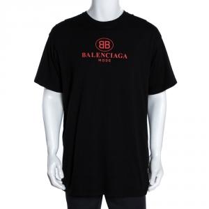 Balenciaga Black Cotton BB Balenciaga Mode Print T-Shirt S