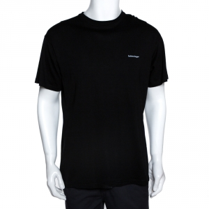 Balenciaga Black Cotton Lowercase Logo Print T Shirt XS