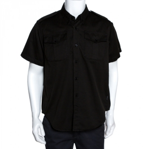 Balenciaga Black Cotton Short Sleeve Safari Shirt M