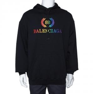Balenciaga Black Embroidered Logo Cotton Oversized Hoodie S