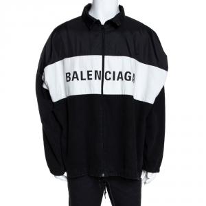 Balenciaga Black & White Denim & Synthetic Trim Logo Printed Jacket M