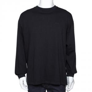 Balenciaga Black Printed Cotton Long Sleeve Oversized T-Shirt S