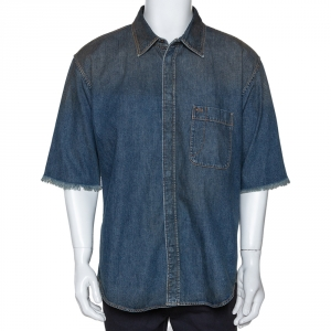 Balenciaga Indigo Logo Embroidered Rustic Denim Short Sleeve Shirt M