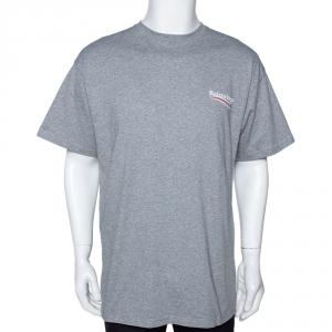 Balenciaga Grey Cotton Campaign Logo Crew Neck T Shirt M