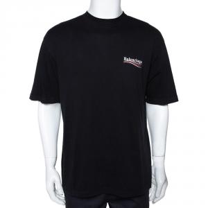Balenciaga Black Cotton Campaign Logo Crew Neck T Shirt M
