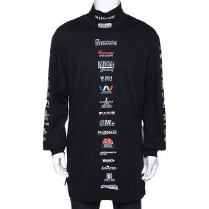 Balenciaga Black Cotton Multi Logo Print Long Sleeve Turtleneck T Shirt M