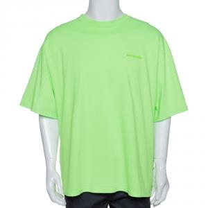 Balenciaga Fluorescent Green Ego Print Cotton Oversized T-Shirt M
