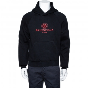 Balenciaga Black BB Mode Print Cotton Hooded Sweatshirt XS
