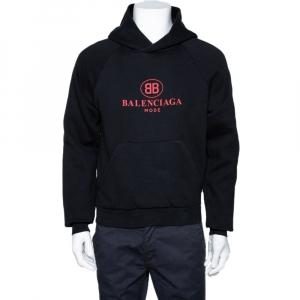 Balenciaga Black BB Mode Print Cotton Hooded Sweatshirt XS