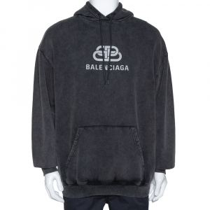 Balenciaga Black Logo Print Washed Cotton Oversized Hoodie S