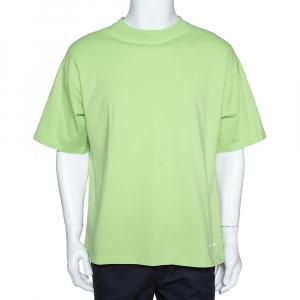 Balenciaga Neon Green Logo Embroidered Cotton T-Shirt M - used