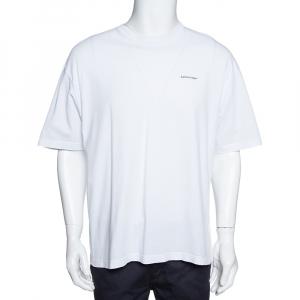 تي شيرت بالنسياغا رقبة مستديرة قطن طباعة شعار أبيض L