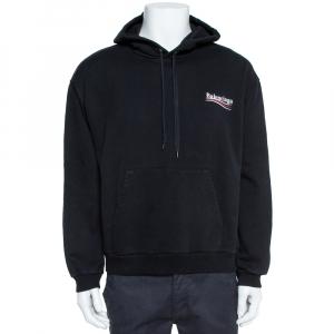 Balenciaga Black Cotton Political Logo Hooded Sweatshirt XL