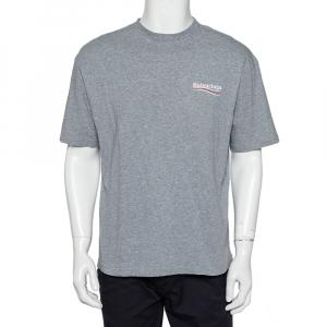 Balenciaga Grey Cotton Campaign Logo Crew Neck T Shirt S - used