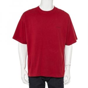 Balenciaga Burgundy Minimalist Logo Printed Crewneck T-Shirt XL - used