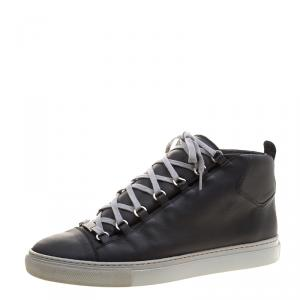Balenciaga Black Leather Arena High Top Sneakers Size 45