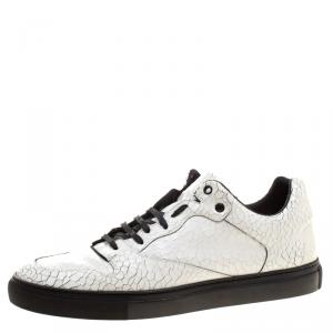 Balenciaga White Cracked Leather Sneakers Size 46