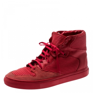 Balenciaga Red Leather And Suede High Top Sneakers Size 42