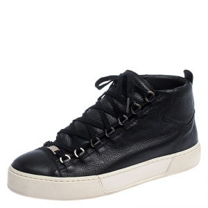 Balenciaga Black Leather Arena Low Top Sneakers Size 43