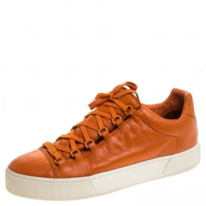 Balenciaga Orange Leather Lace Up Hi Top Sneakers Size 43