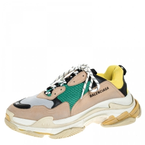 Balenciaga Multicolor Mesh, Nubuck And Leather Triple S Platform Sneakers Size 45