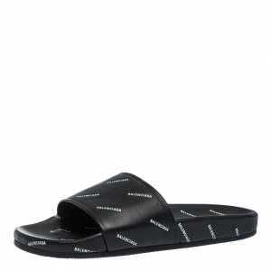 Balenciaga Black Leather Logo Stamped Slide Sandals Size 41